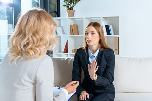 woman learning the answer to what is talk therapy